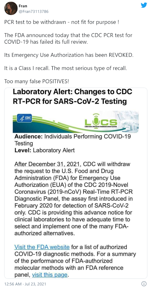 FDA trekt toestemming PCR-test in vanwege teveel valse positieven en 'geen onderscheid met griep'